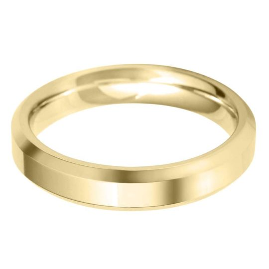 Gents 9ct Yellow Gold 4mm Bevelled Edge Wedding Ring