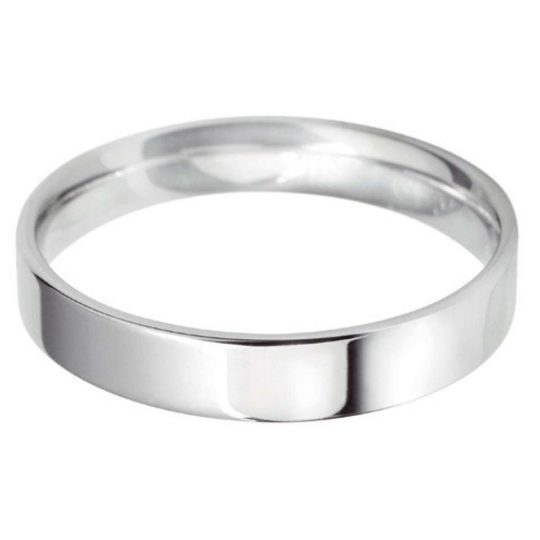 Ladies Platinum 4mm Light Flat Court Wedding Ring