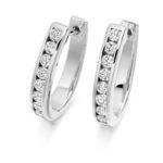 18ct White Gold Brilliant Cut Diamond Hoop Earrings 0.76ct