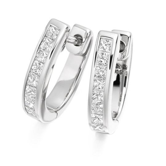 18ct White Gold Princess Cut Diamond Hoop Earrings 0.50ct