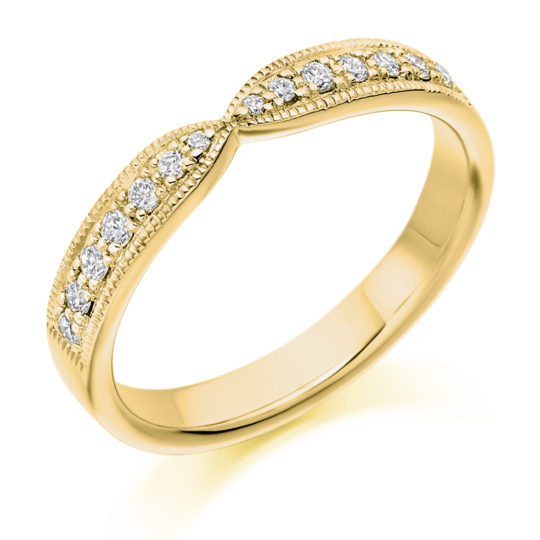 18ct Yellow Gold Brilliant Cut Diamond Set Cut Out Wedding Ring 0.20ct