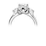 Platinum Brilliant Cut Diamond Trilogy Engagement Ring 1.30ct