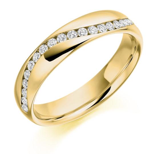 18ct Yellow Gold Brilliant Cut Diamond Set Half Wave Wedding Ring