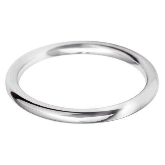 Ladies Platinum 2mm Court Wedding Ring