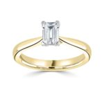 18ct Yellow Gold Emerald Cut Diamond Solitaire Engagement Ring 0.60ct
