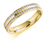 18ct Yellow Gold Brilliant Cut Diamond Two Row Channel Set Wedding Ring 0.26ct