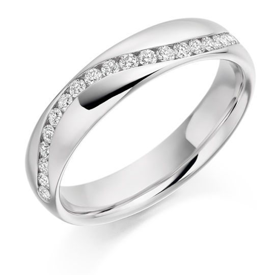 18ct White Gold Brilliant Cut Diamond Set Half Wave Wedding Ring