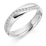 Platinum Brilliant Cut Diamond Set Half Wave Wedding Ring