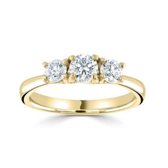 18ct Yellow Gold Brilliant Cut Diamond Trilogy Engagement Ring 0.77ct