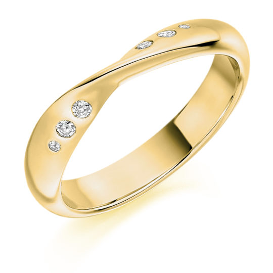 18ct Yellow Gold Brilliant Cut Diamond Set Twist Wedding Ring 0.09ct