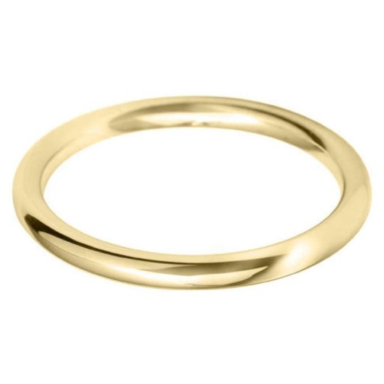 Ladies 18ct Yellow Gold 2mm Court Wedding Ring