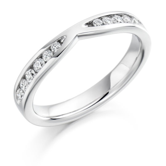 Platinum Brilliant Cut Diamond Set Cut Out Wedding Ring 0.37ct
