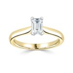 18ct Yellow Gold Emerald Cut Diamond Solitaire Engagement Ring 0.50ct