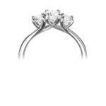Platinum Brilliant Cut Diamond Trilogy Engagement Ring 0.77ct