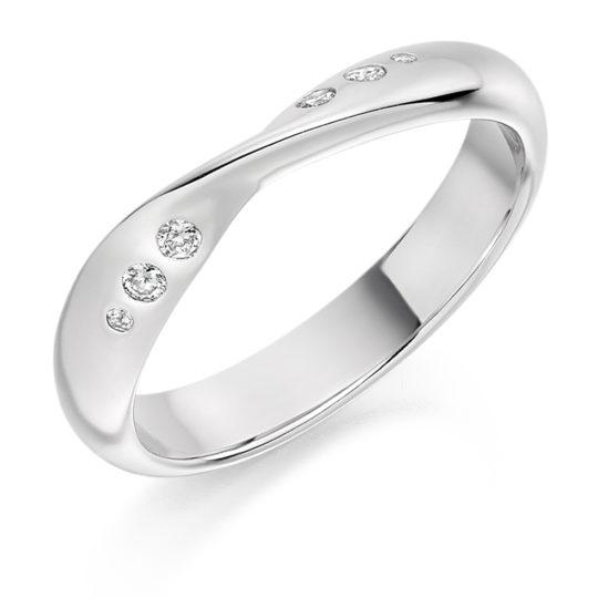 18ct White Gold Brilliant Cut Diamond Set Twist Wedding Ring 0.09ct