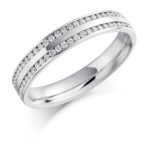 18ct White Gold Brilliant Cut Diamond Two Row Channel Set Wedding Ring 0.26ct