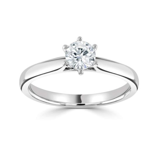 Platinum Brilliant Cut Diamond Solitaire Engagement Ring 0.45ct
