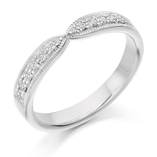 Platinum Brilliant Cut Diamond Set Cut Out Wedding Ring 0.20ct