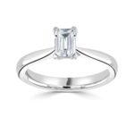 Platinum Emerald Cut Diamond Solitaire Engagement Ring 0.60ct