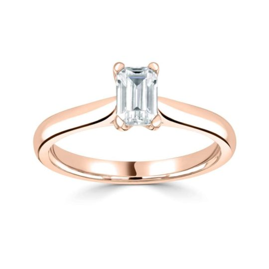 18ct Rose Gold Emerald Cut Diamond Solitaire Engagement Ring 0.40ct