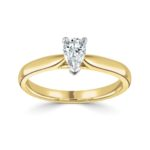 18ct Yellow Gold Pear Shape Diamond Solitaire Engagement Ring 0.50ct