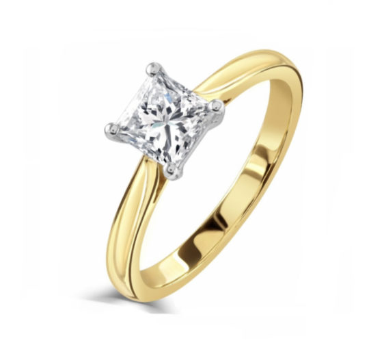 18ct Yellow Gold Princess Cut Diamond Solitaire Engagement Ring 1.00ct
