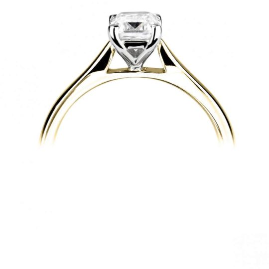 18ct Yellow Gold Emerald Cut Diamond Solitaire Engagement Ring 0.40ct