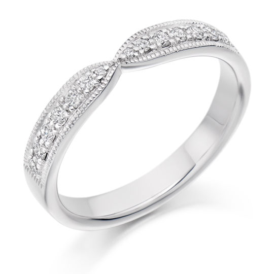 18ct White Gold Brilliant Cut Diamond Set Cut Out Wedding Ring 0.20ct