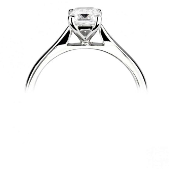 18ct White Gold Emerald Cut Diamond Solitaire Engagement Ring 0.40ct