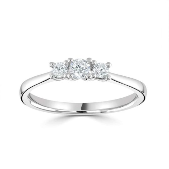 Platinum Brilliant Cut Diamond Trilogy Engagement Ring 0.33ct