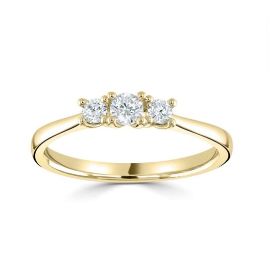 18ct Yellow Gold Brilliant Cut Diamond Trilogy Engagement Ring 0.33ct