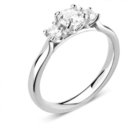 Platinum Brilliant Cut Diamond Trilogy Engagement Ring 0.49ct