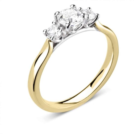 18ct Yellow Gold Brilliant Cut Diamond Trilogy Engagement Ring 0.49ct