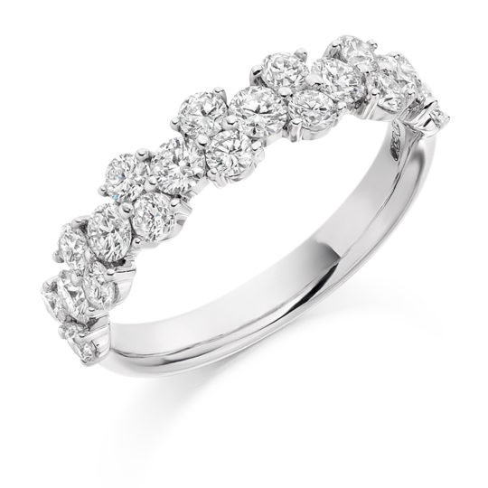 18ct White Gold Brilliant Cut Diamond Claw Set Fancy Dress Ring 1.20ct