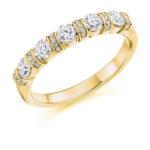 18ct Yellow Gold Brilliant Cut Diamond Fancy Bar Set Half Eternity Ring 0.60ct