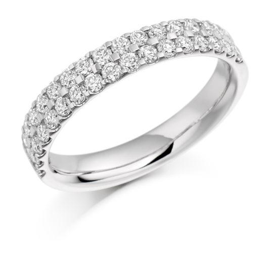 18ct White Gold Brilliant Cut Diamond Micro Claw Set Two Row Half Eternity Ring 0.75ct