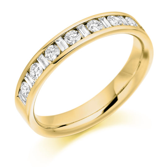 18ct Yellow Gold Brilliant Cut & Baguette Cut Diamond Channel Set Half Eternity Ring 0.50ct