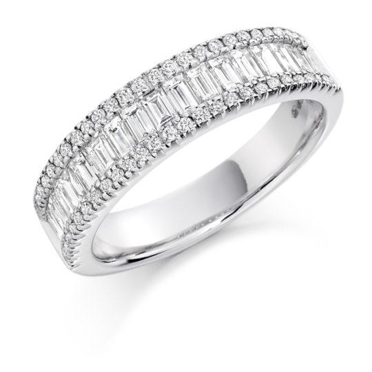 18ct White Gold Brilliant Cut & Baguette Cut Diamond Micro Claw Set Three Row Dress Ring 1.25ct