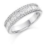 Platinum Brilliant Cut & Baguette Cut Diamond Micro Claw Set Three Row Dress Ring 1.25ct