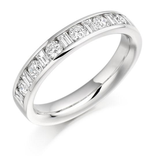 Platinum Brilliant Cut & Baguette Cut Diamond Channel Set Half Eternity Ring 0.76ct