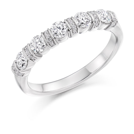 Platinum Brilliant Cut Diamond Fancy Bar Set Half Eternity Ring 0.60ct