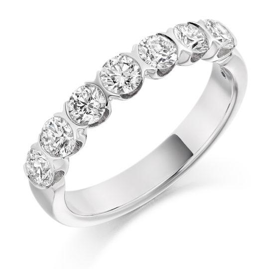 Platinum Brilliant Cut Diamond Bar Set Half Eternity Ring 1.00ct