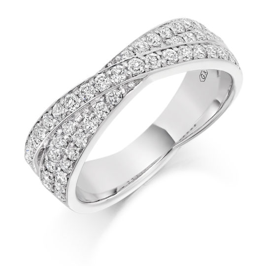 Platinum Brilliant Cut Diamond Grain Set Cross Over Dress Ring 0.70ct