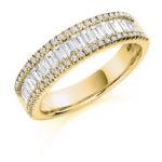 18ct Yellow Gold Brilliant Cut & Baguette Cut Diamond Micro Claw Set Three Row Dress Ring 1.25ct