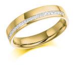 18ct Yellow Gold Princess Cut Diamond Offset Wedding Ring 0.25ct