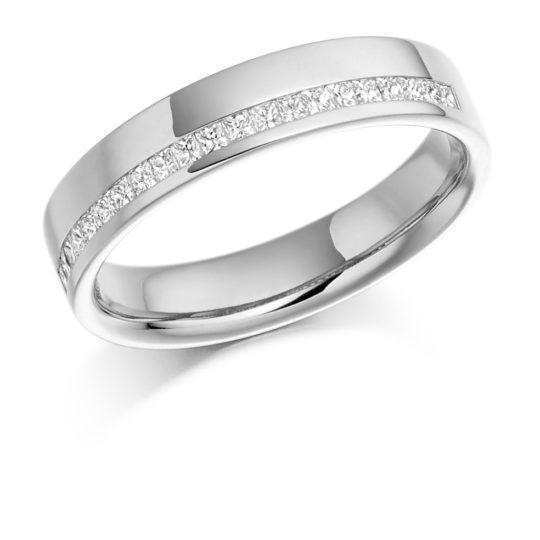 Platinum Princess Cut Diamond Offset Wedding Ring 0.25ct
