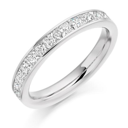 Platinum Princess Cut Diamond Channel Set Half Eternity Ring 1.00ct