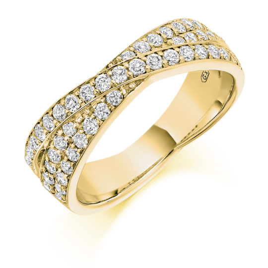 18ct Yellow Gold Brilliant Cut Diamond Grain Set Cross Over Dress Ring 0.70ct