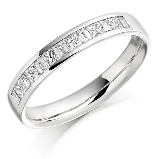 18ct White Gold Princess Cut & Baguette Cut Diamond Channel Set Half Eternity Ring 0.50ct