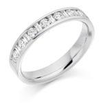 Platinum Brilliant Cut & Baguette Cut Diamond Channel Set Half Eternity Ring 0.50ct
